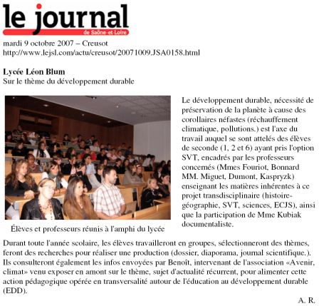 article JSL 9 octobre 2007