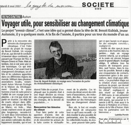 article gazette du morvan 08 mai 2007